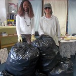Jacinta and Terri Sorting all our Cans