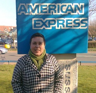 Melanie outside AMEX in Burgess Hill
